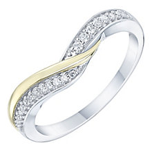 9ct Gold & White Gold 0.10ct Diamond Shaped Band - Product number 6086446