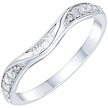 9ct White Gold 0.15 Carat Diamond Set Shaped Band - Product number 6086578