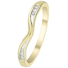 9ct Gold Diamond Set Shaped Band - Product number 6086837