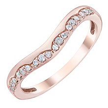 9ct Rose Gold 0.10 Carat Diamond Set Shaped Band - Product number 6086977