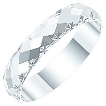 Ladies' 9ct White Gold Diamond Cut Patterned Band - Product number 6087817
