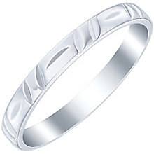 9ct White Gold Diagonal Patterned Band - Product number 6087949