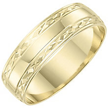 Ladies' 9ct Gold Patterned Edge Band - Product number 6088082