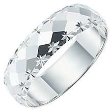 Men's 9ct White Gold Diamond Cut Patterned Band - Product number 6088996