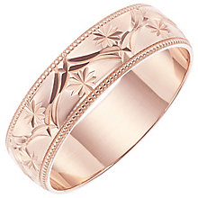 Men's 9ct Rose Gold Patterned Band - Product number 6089240