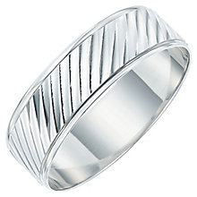 Men's 9ct White Gold Twist Patterned Band - Product number 6089402