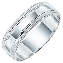 Men's 9ct White Gold Milgrain Patterned Band - Product number 6089666