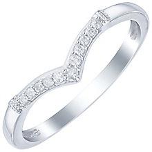 18ct White Gold Diamond Set Wishbone Shaped Band - Product number 6091113