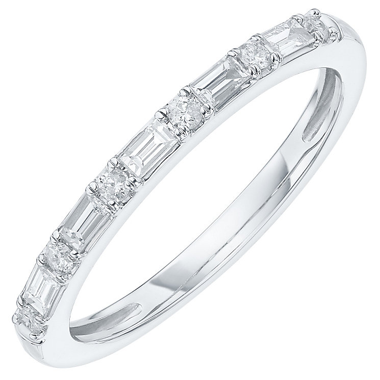 Platinum 1/5 Carat Round & Baguette Cut Diamond Set Band - Product number 6091652