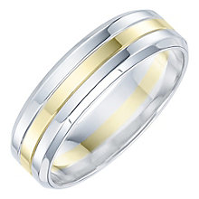 Palladium & 9ct Gold Groove Design Ring - Product number 6092055