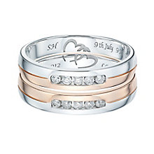 9ct White & Rose Gold 0.20ct Diamond Band Set - Product number 6093191