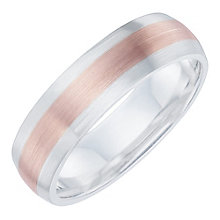 Sterling Silver & 9ct Rose Gold Matt Finish Ring - Product number 6093485