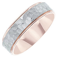 Palladium 500 & 9ct Rose Gold Hammered Band - Product number 6093612