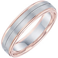 Palladium & 9ct Rose Gold Striped Band - Product number 6093752