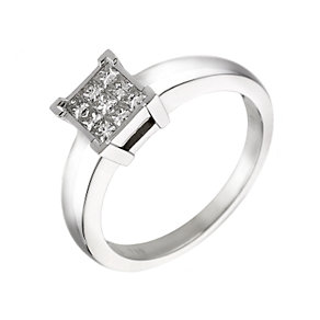 18ct white gold quarter carat diamond square cluster ring - Product number 6093949