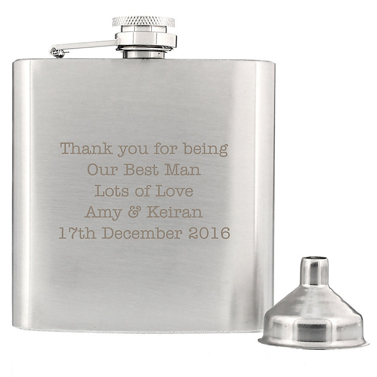 Engraved Any Message Stainless Steel Hip Flask - Product number 6095496