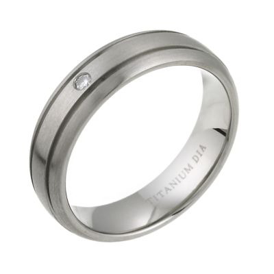 Mens Titanium Diamond Engagement Ring HSamuel