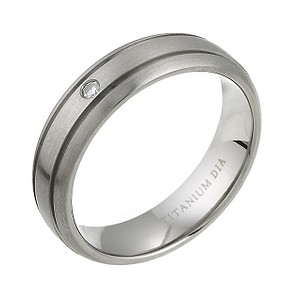 Men's Titanium Diamond Engagement Ring