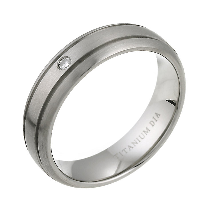 Men's Titanium Diamond Engagement Ring - Product number 6097286