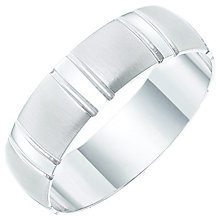 Men's 9ct White Gold Stripe Patterned Band - Product number 6101364