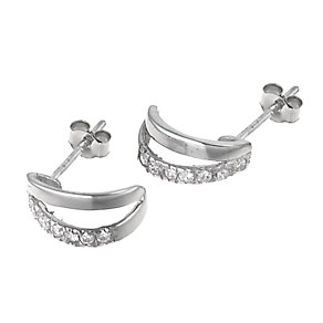 9ct White Gold Cubic Zirconia Split Earrings - Product number 6101941
