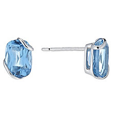9ct White Gold Oval Blue Topaz Stud Earrings - Product number 6102212