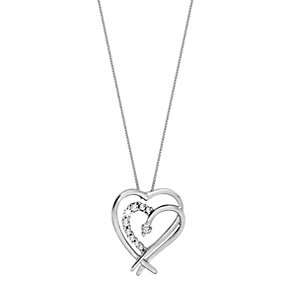 9ct White Gold Cubic Zirconia Entwined Heart Pendant - Product number 6105629