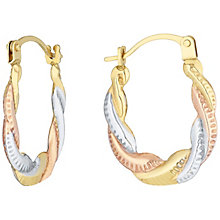 9ct Gold 3 Colour Twisted Creole Earrings - Product number 6114326