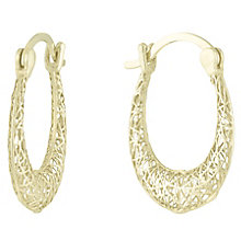 9ct Gold 3D Cut Out Oval Creole Earrings - Product number 6114334