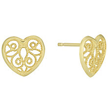 9ct Gold Filigree Migrain Heart Stud Earrings - Product number 6114369