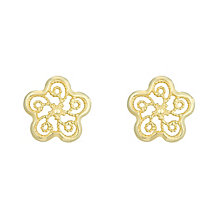 9ct Yellow Gold Filigree Flow Stud Earrings - Product number 6114377