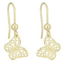 9ct Gold Filigree Butterfly Drop Earrings - Product number 6114385