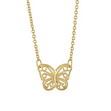 9ct Gold Filigree Butterfly Necklace - Product number 6114547