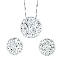 Evoke Silver Rhodium-Plated Crystal Stud Earrings & Pendant - Product number 6114636