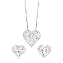 Evoke Rhodium-Plated Crystal Heart Stud Earrings & Pendant - Product number 6114644
