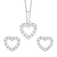 9ct White Gold Cubic Zirconia Heart Stud Earrings & Pendant - Product number 6114652