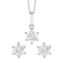 9ct White Gold Cubic Zirconia Flower Stud Earrings & Pendant - Product number 6114687