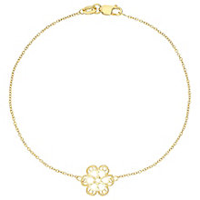 9ct Gold Diamond Cut Filigree Flower Bracelet - Product number 6114784