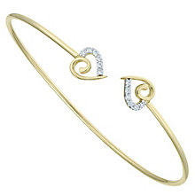 9ct Gold Cubic Zirconia Set Swirl Heart Torque Bangle - Product number 6114830