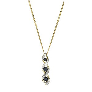 9ct Yellow Gold, Sapphire and Diamond Pendant Necklace