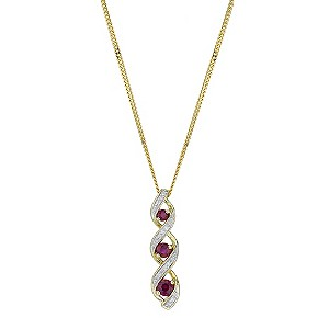 9ct Yellow Gold, Treated Ruby and Diamond Pendant Necklace
