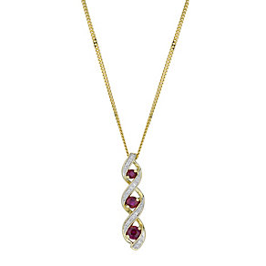 9ct Yellow Gold, Treated Ruby and Diamond Pendant Necklace - Product number 6115462