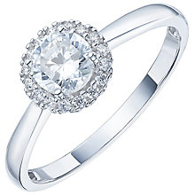 9ct White Gold Cubic Zirconia Halo Ring - Product number 6115837