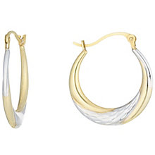 9ct Gold 2 Colour Diamond Cut Striped Creole Earrings - Product number 6116124