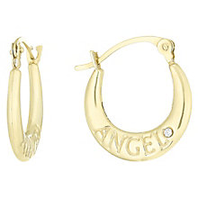 9ct Gold Cubic Zirconia Set Angel Creole Earrings - Product number 6116280