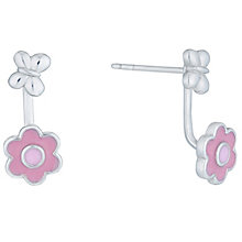 Sterling Silver Butterfly & Pink Enamel Flower Ear Jackets - Product number 6116329