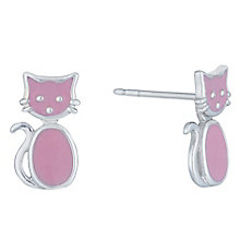 Sterling Silver Pink Enamel Cat Stud Earrings - Product number 6116337