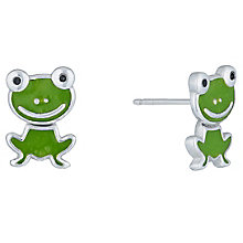 Sterling Silver & Green Enamel Frog Stud Earrings - Product number 6116345