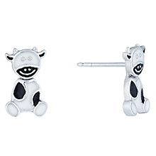 Sterling Silver & Black & White Enamel Cow Stud Earrings - Product number 6116353