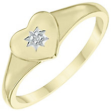 9ct Gold Diamond Set Heart Signet Ring Size F - Product number 6116469